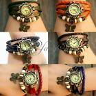Retro Woven Handmade Classic Leather Strap Roma Number Dial Quartz Watch Gift