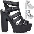 NEW WOMENS BLOCK HEEL CUT OUT CLEATED SOLE PLATFORM SANDAL SHOES SIZE 3 - 8