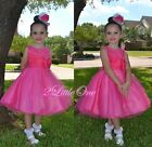 Rhinestones Flower Girl Dress Wedding Party Pageant Occasion Hot Pink 2T-9 FG288