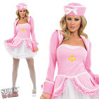 Sexy Ladies Pink Tutu Sailor Fancy Dress Costume With Hat & Jacket Size 8-30