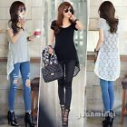 Sexy Summer Women Lace Mesh Backless Floral Asymmetric Top Blouse T-Shirt Tunic