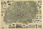 1901 LARGE AERIAL VIEW WALL MAP ALLENTOWN PA