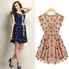 Women Casual Vintage Deer Print Chiffon Sleeveless Summer Party Mini Dress S M L