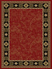 Burgundy Red European Bordered Carpet Greek Key Traditional Floral Area Rug