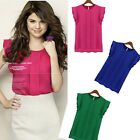New Fashion Womens Chiffon Short Butterfly Sleeve loose Shirt Casual Tops Blouse