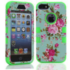 Luxury Floral Rugged Combo Heavy Duty Hybrid Impact Hard Case For Various Models