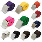 Fashion Colors Mens Boys Unisex Plain Webbing Cotton Canvas Metal Buckle Belt-UK
