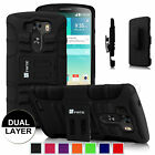 For LG G3 Smartphone Dual Layer Holster Kickstand Belt Swivel Clip Case Cover