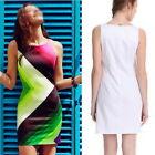 New Sexy Women Sleeveless Cocktail Evening Club Party Printing Bodycon Dress Hot