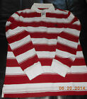 4826J New Timberland  Men's long Sleeve Rugby Stripe Polo Shirt  Red  Size S-2XL