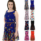 Women's Chiffon Belted Butterfly Floral Print Ladies Lined Mini Skater Dress