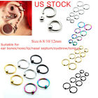 1 Pair 16G Steel Ear Cartilage Nose Lip Eyebrow Captive Bead Hoop Ring Piercing