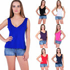 AG45 Ladies Womens Scallop Edge Jersey Vest Top Plain Basic Sleeveless Tops 8-22