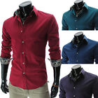 New Mens Luxury Casual Formal Slim Fit Stylish Shirts Tops Red Blue Green Purple