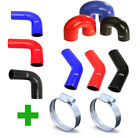 New Silicone Hose Elbows 90 Degree - 45 Degree - 180 Degree + 2 Hose Clips