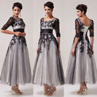 Half Sleeve Appique Lace Ball Gown Evening Prom Party Bridesmaid Dresses Sz 6-20