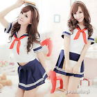 Sexy Hot School Women Girls Uniform Cosplay Top&Skirt Babydoll Sleepwear Costume