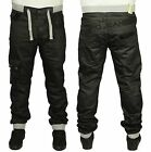 MENS JEAN EM473 DESIGNER BLACK CUFFED JOGGER ALL SIZES 28 TO 42
