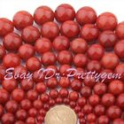 8-20mm Round Smooth Cracked Orange Red Agate Gemstone Spacer Loose Beads 15""