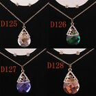 New Women 14K Gold Filled Austrian Crystal Drop Necklace Earring Set In 4 Colors