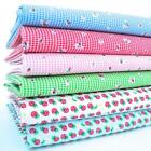 STRAWBERRY DESIGNS - POLY COTTON FABRIC  girls children's novelty gingham 45""