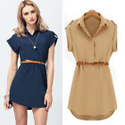 New Women's Cap Sleeve Stretch Chiffon Casual OL Belt Shirt Mini Dress 4 Sizes