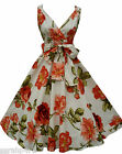 KUSHI RETRO 50'S STYLE ROCKABILLY SWING VINTAGE FLORAL DRESS NEW SIZE 8-18