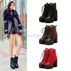 Ladies Patent Lace Up Platform Chunky High Heel Ankle Boots Shoes Plus Size T-1
