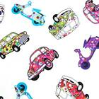 CARS MINIS CAMPER VANS VESPAS - WHITE - 100% COTTON  FABRIC by the metre