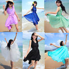 Ladies' Chiffon Summer Beach Bowknot Flounced Pleated Waist Voile Ruffle Dress