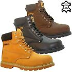 MENS LEATHER SAFETY WORK BOOTS STEEL TOE CAP ANKLE HIKER SHOES SIZE UK 6 - 13