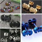HOT Fashion Punk Gothic Stainless Steel Carved Batman Mens Earring Ear Studs 2Pc