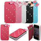 Bow Bling Pearl PU Leather Flip Card Wallet Holder Case Cover For Mobile Phones