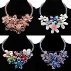 Fashion Jewelry Multicolors Crystal Cluster Flower Statement Choker Bib Necklace