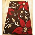 Floral Flowered Leaf Rugs New Small X Large Thick Quality Soft Carpet Modern Red