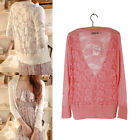 Lady Hollow Lace long-sleeved sweater Transparent thin cardigan sweater Openwork