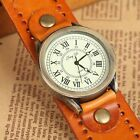 Genuine Leather Mens Women Ladies Punk Roman Numbers Non-allergic Watch #013
