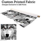 WILD WOLVES WOLF DESIGN FABRIC LYCRA SPANDEX JERSEY POLYESTER ALOBA CHIFFON