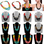 Fashion Jewelry Handmade Multilayers Long Chain Resin Seed Beads Bib Necklace