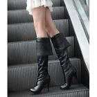 Womens PU Leather Over The Knee Thigh High Stiletto Heels Platform Boots-us-2