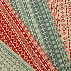 Christmas Scandinavian Diamond Stripe Snowflake 100% Cotton Fabric