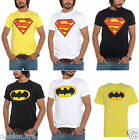 Mens Boys Summer Crew Neck Stretch Lycra Cotton Superman Batman T Shirt Top