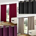 Ribbed Lined Eyelet Curtains Ready Made Ring Top Curtain Pairs Machine Washable