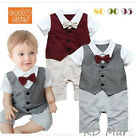 New Baby Boy Formal Tuxedo suit style one piece Romper 6-12M,12-18M,18-24M
