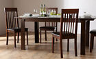 Java & Oxford Extending Dark Wood Dining Room Table and 4 6 Chairs Set