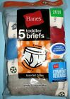 Hanes TB90A5 Toddler Assorted Color Cotton Briefs Underwear QTY 5