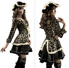 Hot Cosplay Deluxe Pirate Villain Buccaneer Fancy Dress Complete Outfit Costume