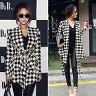 Summer Women Long Sleeve Houndstooth Casual Belt Peplum Jacket Coat Cardigan Top
