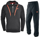 Nike New Men Fleece Half Zip Jogging Tracksuit Top Bottom Cotton Black/Orange