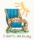 Heritage Crafts I Don't Do Busy Cats Rule Counted Cross Stitch Kit